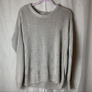 PINK gray knit oversized sweater with skulls~S